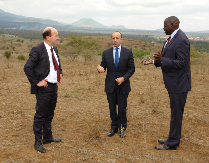 John Hocking, MICT Registrar; Miguel de Serpa Soares, United Nations Under-Secretary-General for Legal Affairs; Samuel Akorimo, Officer in charge of the MICT Registry-Arusha branch, during a site visit of the future MICT Facility in Arusha, Tanzania.