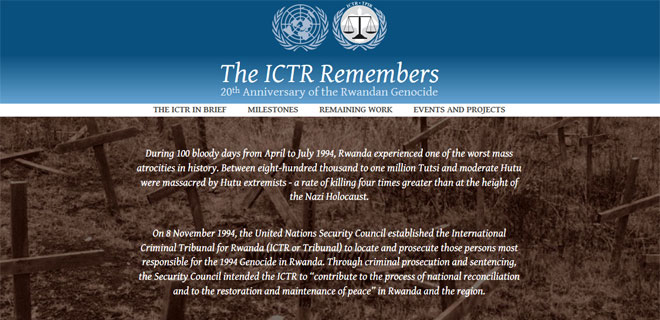 Screenshot of the ICTR Remembers website