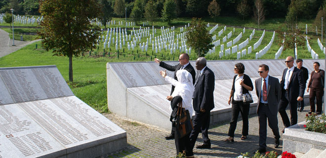 Prosecutor Jallow at the Potočari Memorial, near Srebrenica