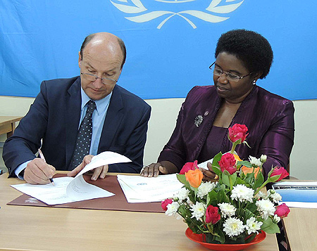 The MICT Registrar Mr. John Hocking and  H.E. Ambassador Irene Kasyanju Director of Legal Affairs Unit in the Ministry of Foreign Affairs and International Co-operation of Tanzania
