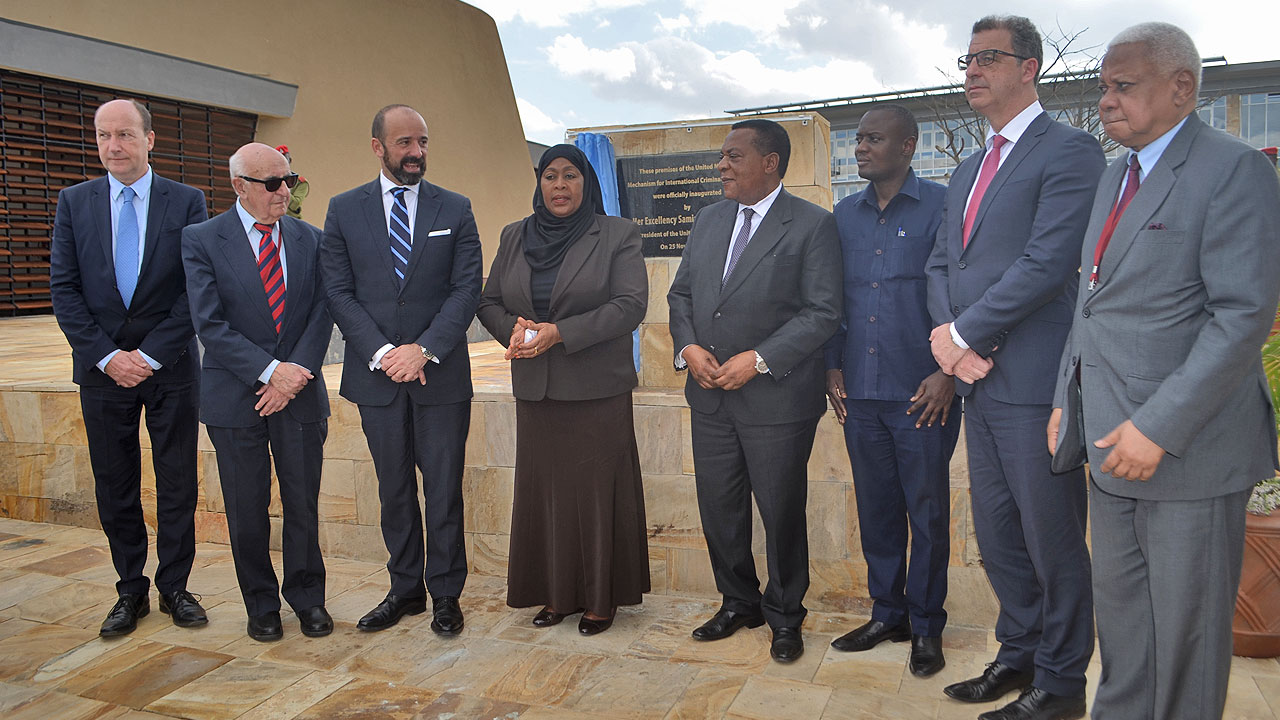 From left to right: MICT Registrar John Hocking; MICT President Theodor Meron; UN Legal Counsel Mr. Miguel de Serpa Soares; Vice President of Tanzania, Mrs Samia Suluhu Hassan; Minister of Foreign Affairs and East African Cooperation, Dr. Augustine Mahiga; Regional Commissioner of Arusha, Mr. Mrisho Gambo; MICT Prosecutor Serge Brammertz and Chief Justice of Tanzania, Justice Mohamed Chande Othman