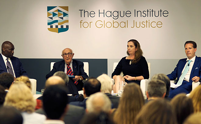 Dr. Abi Williams, President of The Hague Institute, Judge Theodor Meron, Mechanism President, Dr. Fidelma Donlon, Registrar of the Kosovo Specialist Chambers and Professor Dr. Carsten Stahn, Chair of International Criminal Law and Global Justice, and Programme Director of the Grotius Centre for International Legal Studies, Leiden University