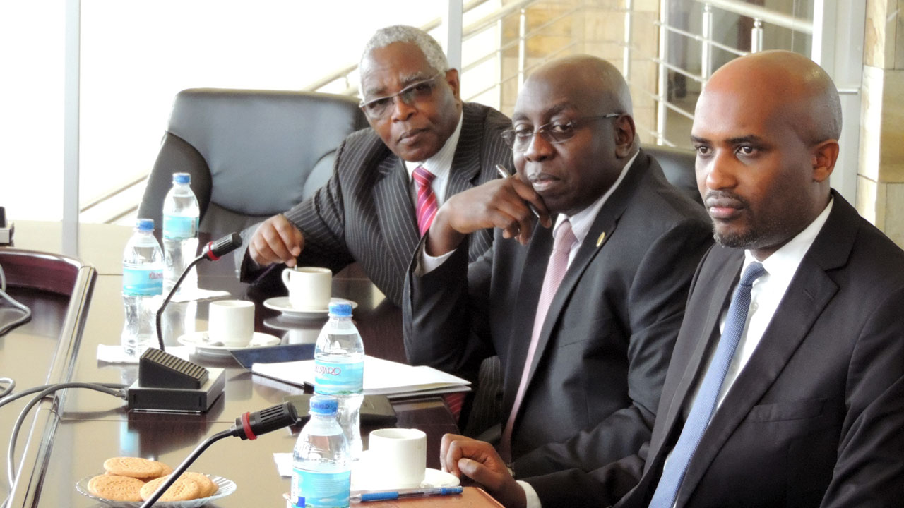 Left to right: EACJ's Hounourable Justices Aaron Ringera and Geoffrey W.M. Kiryabwire, and EACJ's President, Honourable Justice Dr. Emmanuel Ugirashebuja