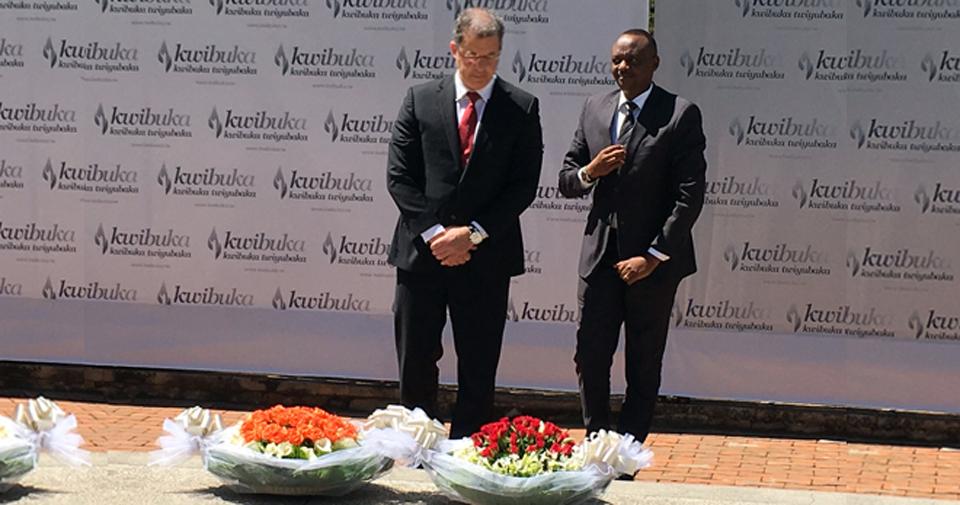 MICT Prosecutor Serge Brammertz and Prosecutor General of Rwanda Richard Muhumuza at the Gisozi Genocide Memorial Centre, Kigali, Rwanda, in April 2016