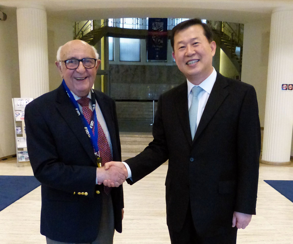 President Meron with the Chairperson of the NHRCK, Sung-ho Lee