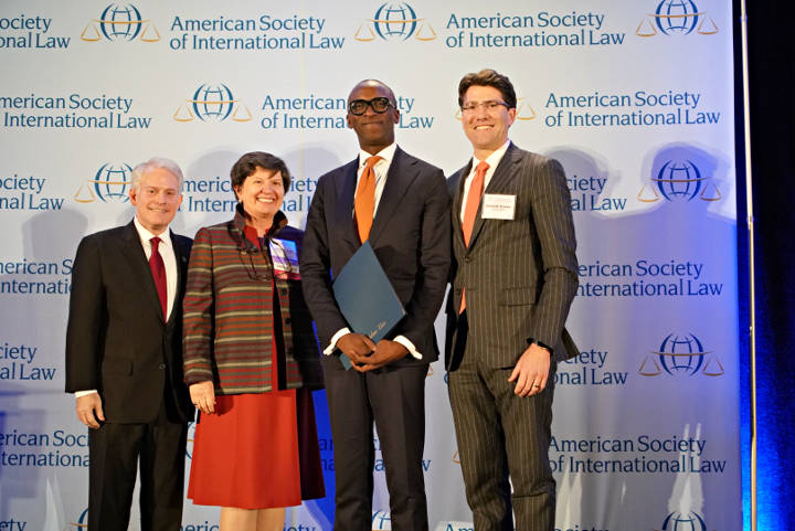 From left, Mark Agrast, ASIL Executive Director, Lucinda A. Low, ASIL President, Olufemi Elias, MICT Registrar and David D. Bowker, Chair of the ASIL Executive Committee, at the award ceremony on 5 April 2018 in Washington, D.C