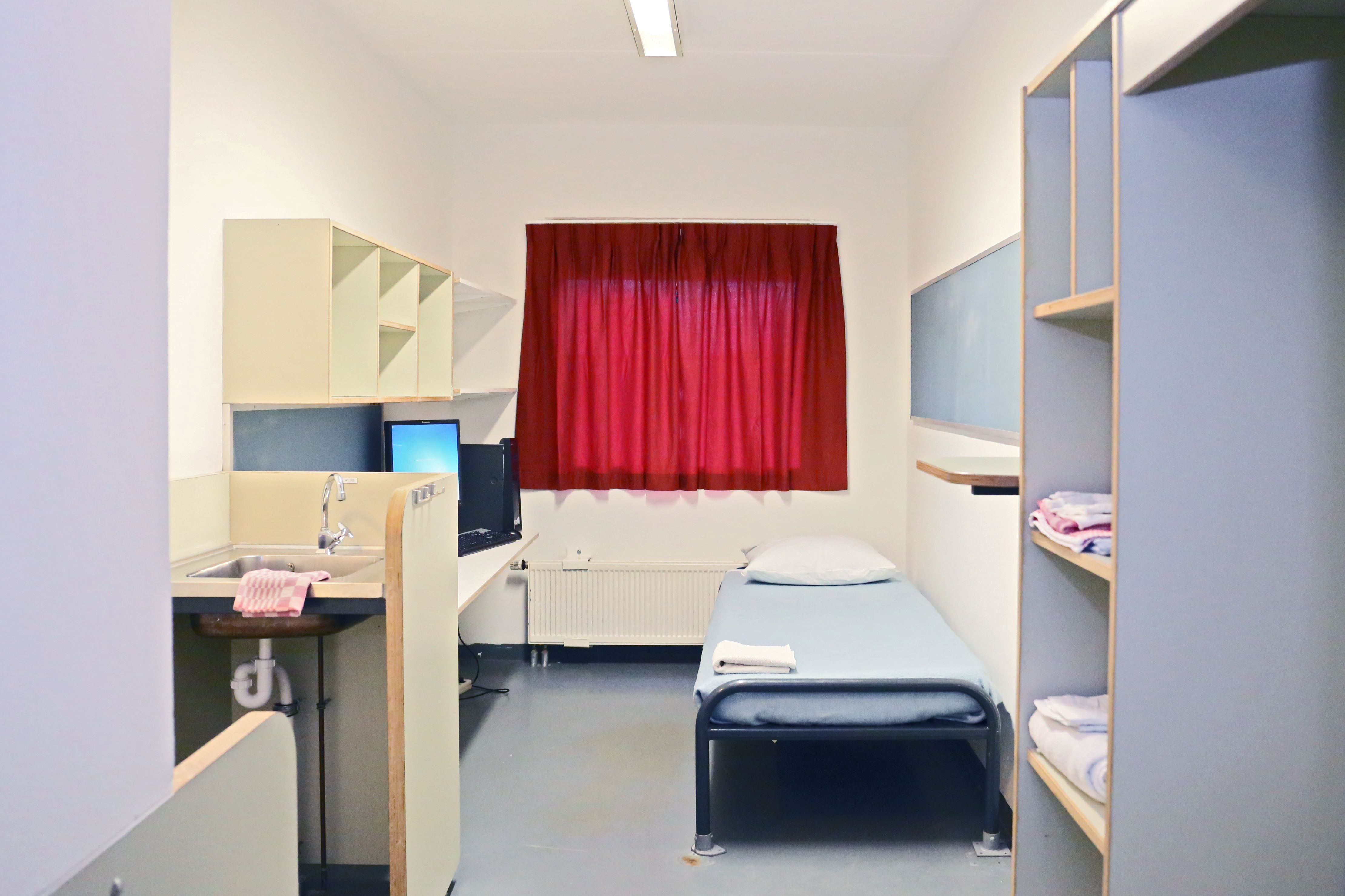 A cell at the United Nations Detention Unit in The Hague.