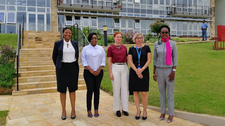 From left to right: Ms. Thembile Segoete, Acting Officer-in-Charge, Office of the Prosecutor, Arusha branch, Ms. Tully Mwaipopo, Legal Officer IOR, Arusha branch, Her Excellency. Ms. Francisca Pedrós Carretero, Ambassador of the Kingdom of Spain to the United Republic of Tanzania, Ms. Fiana Reinhardt, Head of the President's Office, Arusha and Ms. Sera Attika, Chief of Registry, Arusha branch