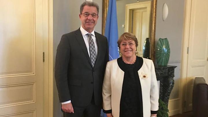 Le Procureur du Mécanisme, Serge Brammertz, et la Haute-Commissaire des Nations Unies aux droits de l'homme, Michelle Bachelet