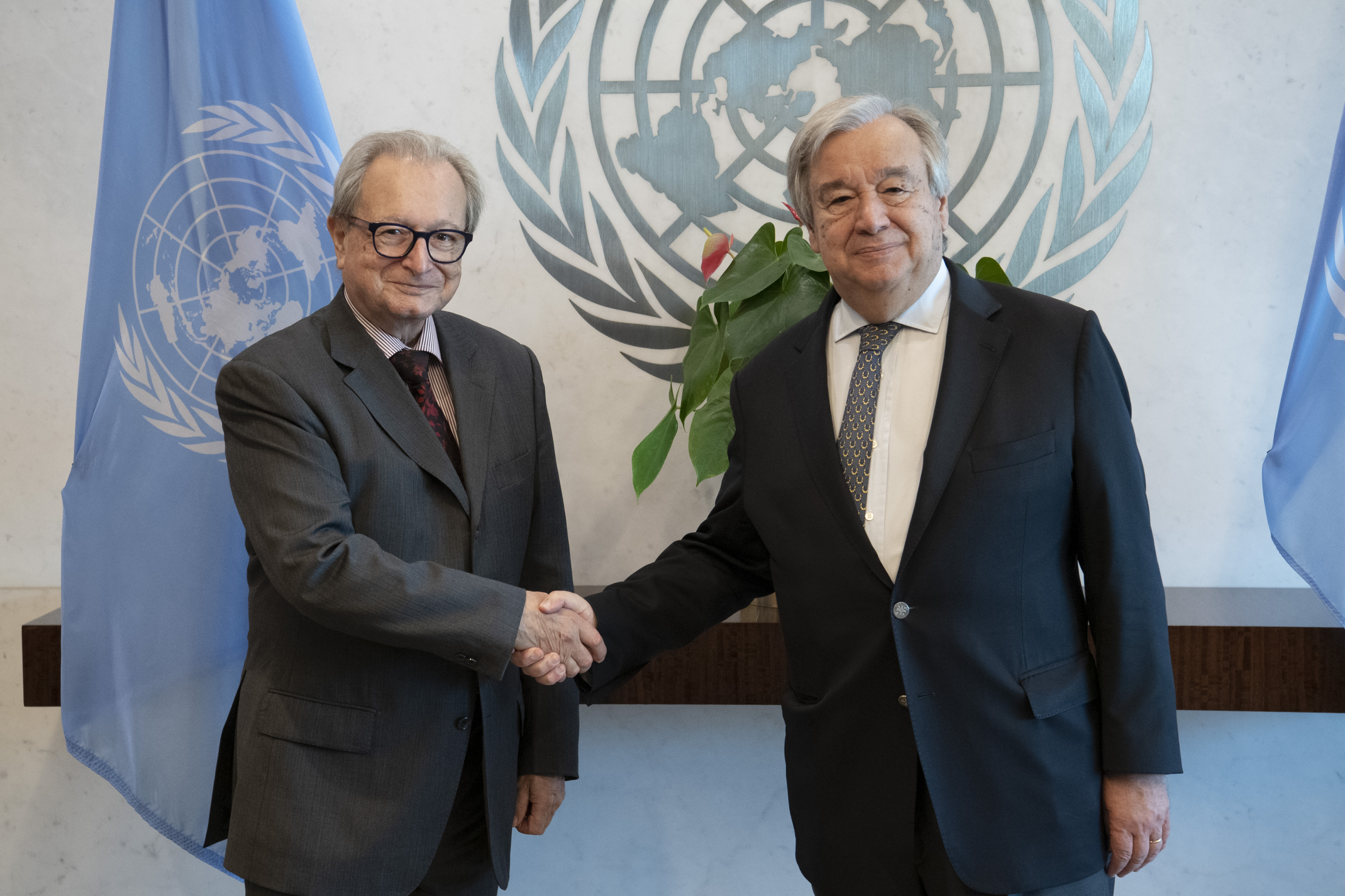 IRMCT President, Judge Carmel Agius (left), and United Nations Secretary-General António Guterres. UN Photo/Evan Schneider