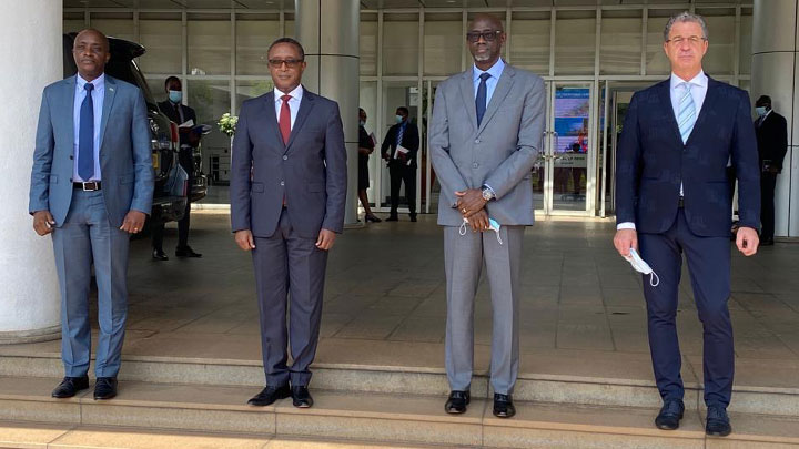 From left, Mr. Aimable Havugiyaremye, the Prosecutor General, Dr. Vincent Biruta, the Minister of Foreign Affairs and Cooperation, Mr. Johnston Busingye, the Minister of Justice and Mr. Serge Brammertz, Mechanism Prosecutor